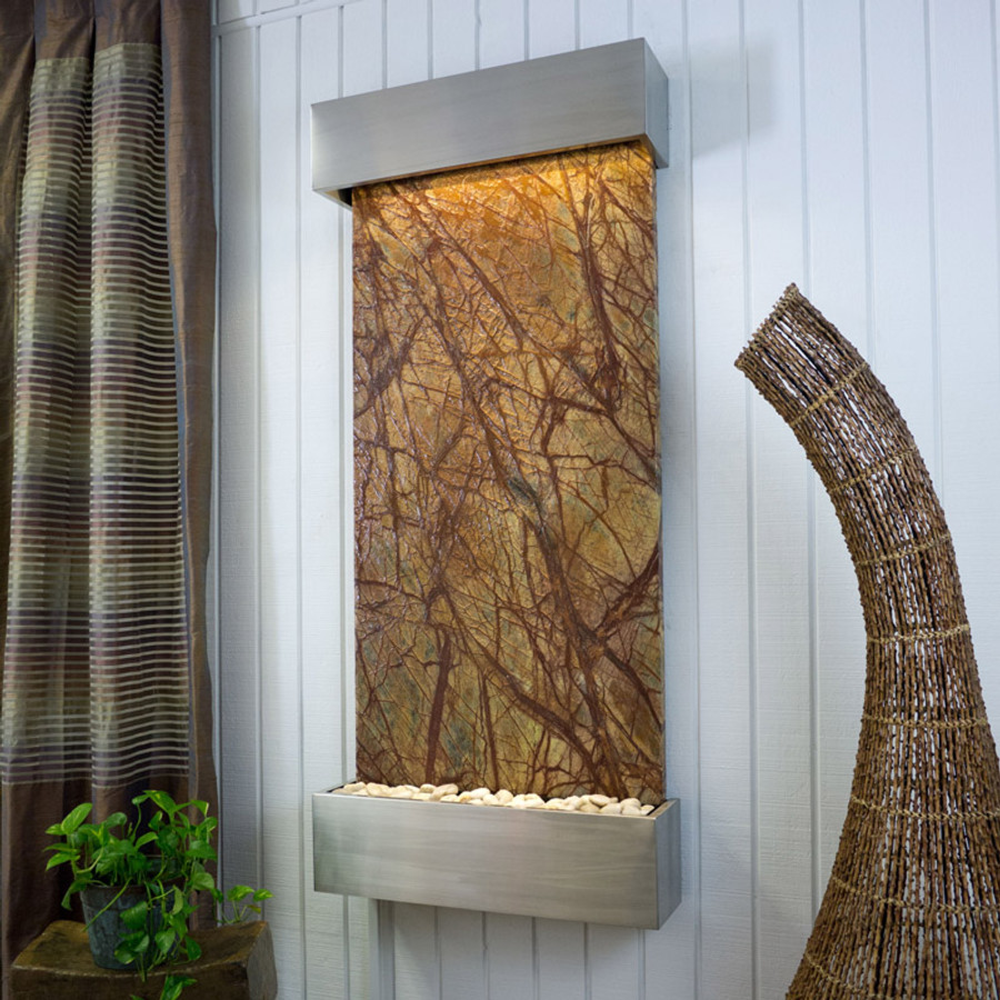 Brown Marble with Stainless Steel Frame