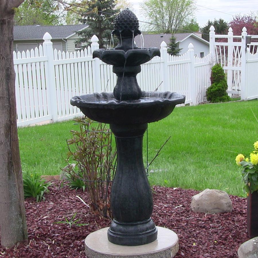 Sunnydaze Two-Tier Pineapple Solar-on-Demand Fountain, Black Finish, 46 Inch Tall