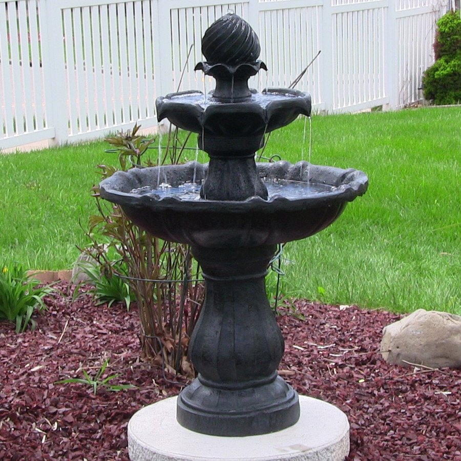 Water Fountain Garden: Sunnydaze 2-Tier Solar-On-Demand Fountain