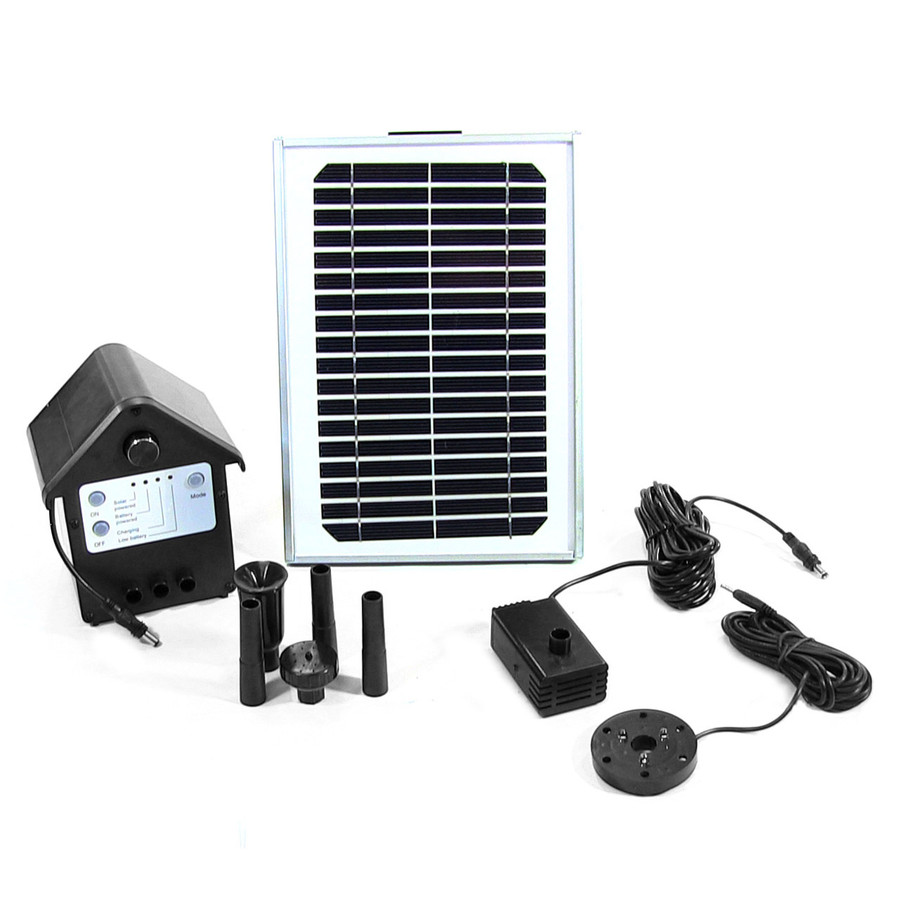 Sunnydaze Solar Pump and Solar Panel Kit With Battery Pack and LED Light 132 GPH, 56-Inch Lift