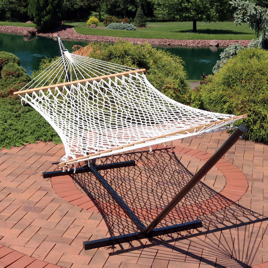 Cotton Rope Double Hammock with Stand and Wood Spreader Bar