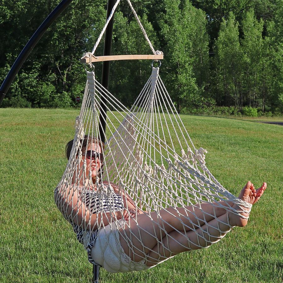 Sunnydaze 48 Hanging Cotton Rope Hammock Chair Swing