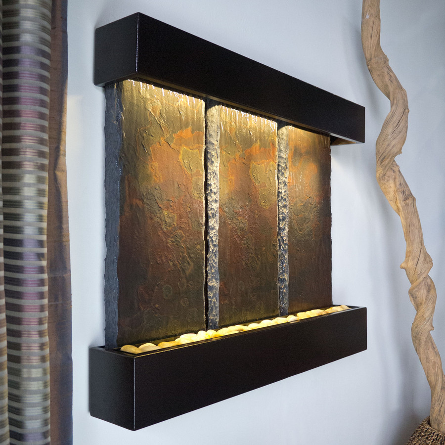 Bluworld Triptych Falls Vertical Wall Fountain with Copper Vein Frame