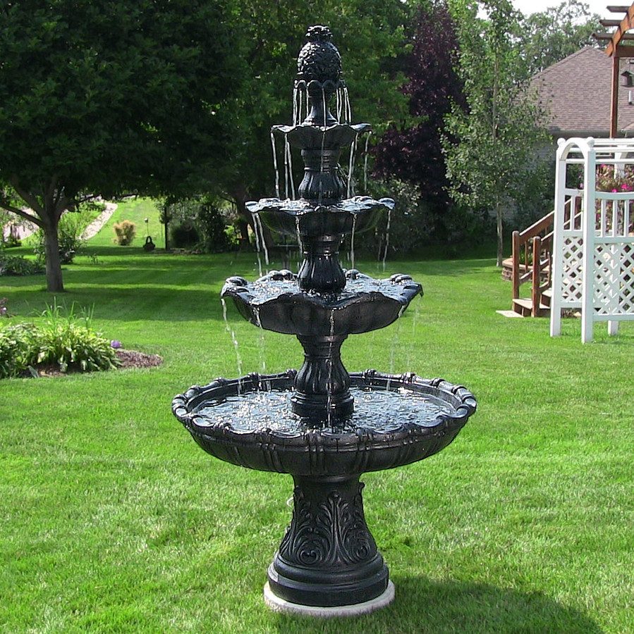 Sunnydaze 4-Tier Grand Courtyard Outdoor Water Fountain, Black, with Electric Submersible Pump, 80 Inch Tall