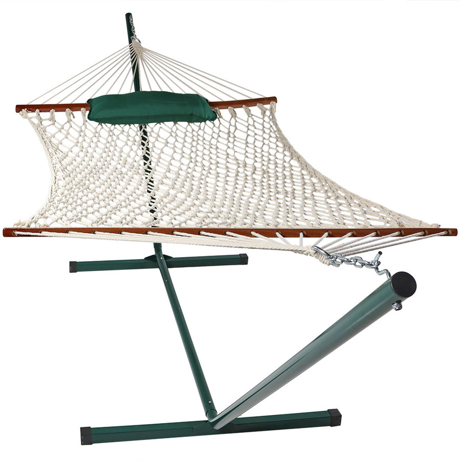 Green/White Stripe Rope Hammock and Stand Combo without pad