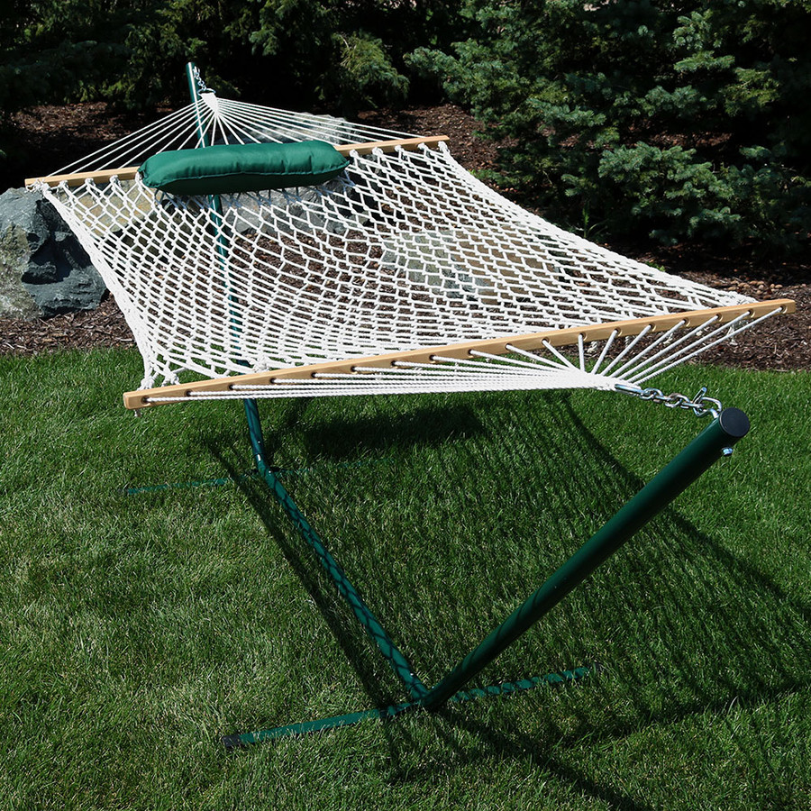 Green/White Stripe Rope Hammock and Stand Combo Outdoors without Pad