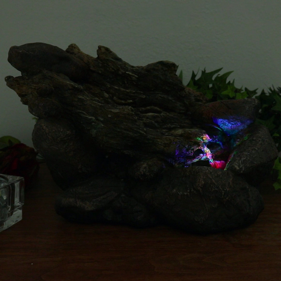 Log and Stone Tabletop Water Fountain w/ LED Light by Sunnydaze