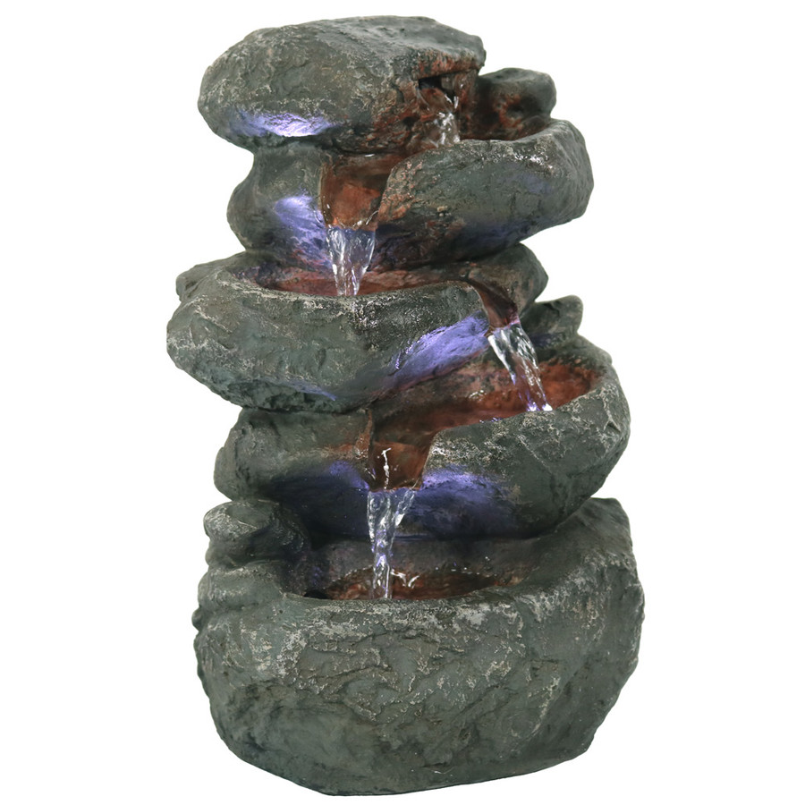 Stacked Rocks Tabletop Water Fountain w/LED Lights by Sunnydaze