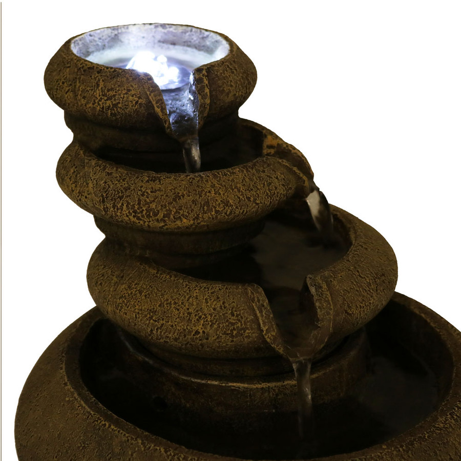 Sunnydaze Three Tier Flowing Tabletop Water Fountain with LED Lights, 8 Inch Tall