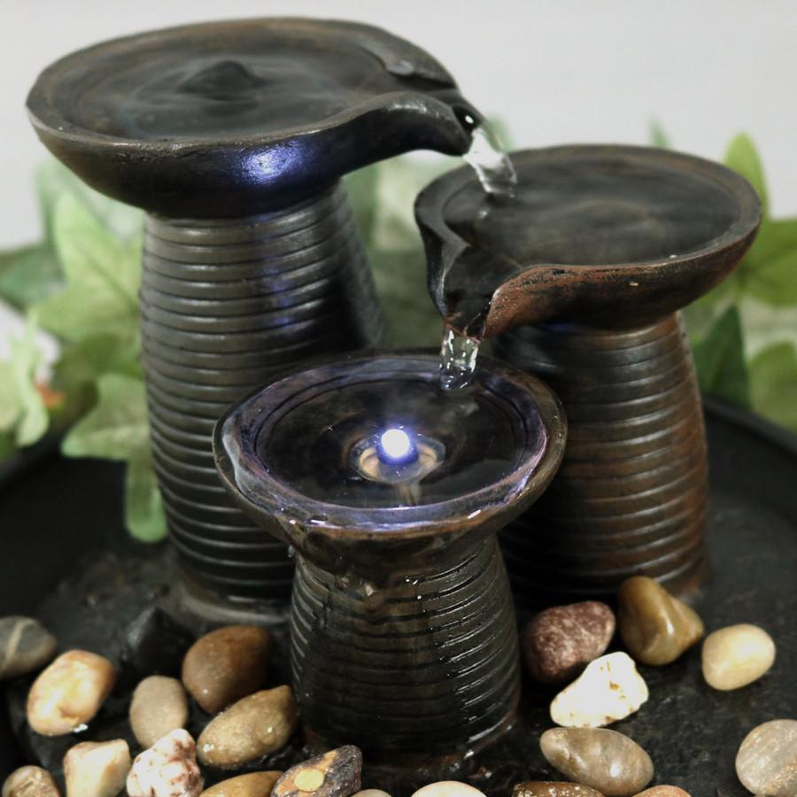 Three Pillars Pouring Table Fountain w/ LED Light by Sunnydaze Decor