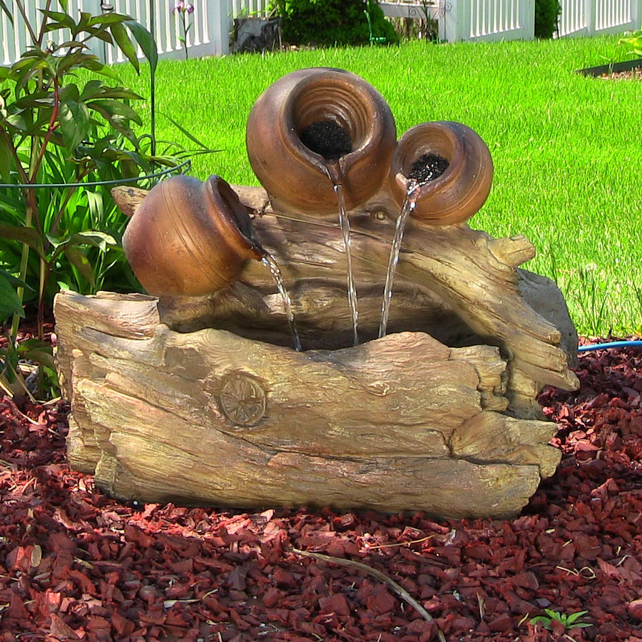 Tree Trunks and Pitchers Fountain w/LED Lights by Sunnydaze Decor