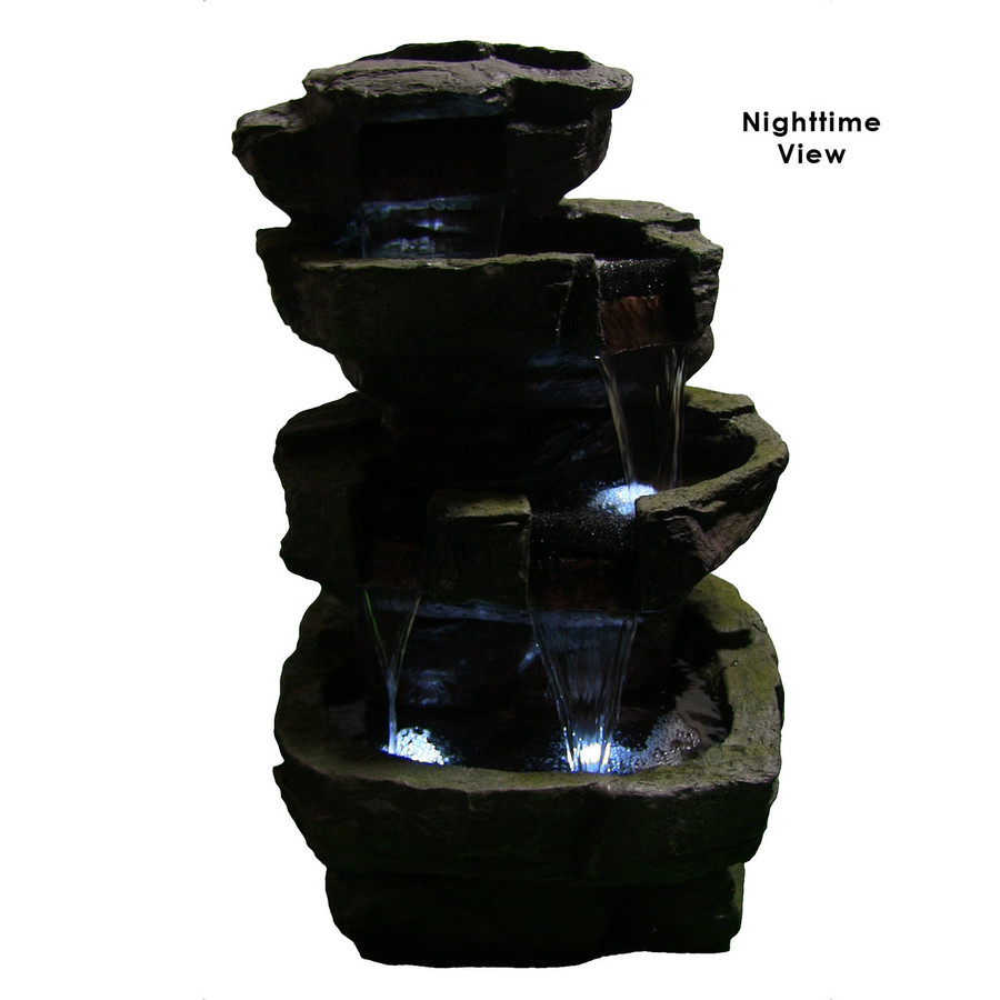 Sunnydaze Outdoor Electric Tiered Stone Waterfall with LED Lights, 24 Inch Tall