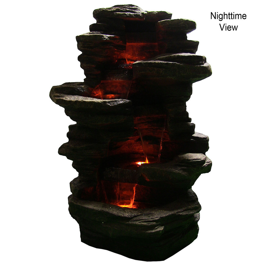 Sunnydaze Stacked Shale Electric Outdoor Waterfall with LED Lights, 38 Inch Tall