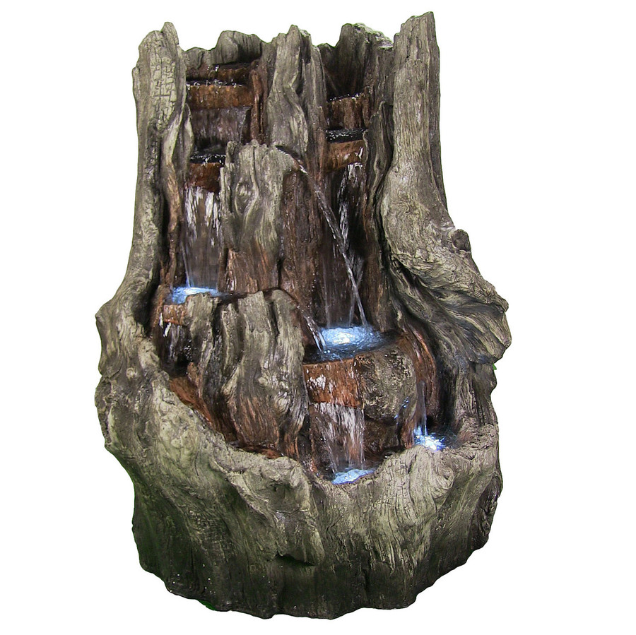 Cascading Mountain Falls Outdoor Water Fountain with LED Lights, 53 Inch Tall