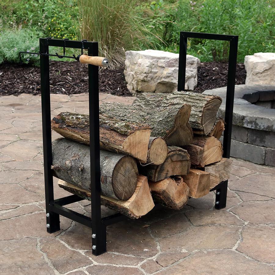 Sunnydaze 30 Inch Black Steel Indoor/Outdoor Firewood Log Rack