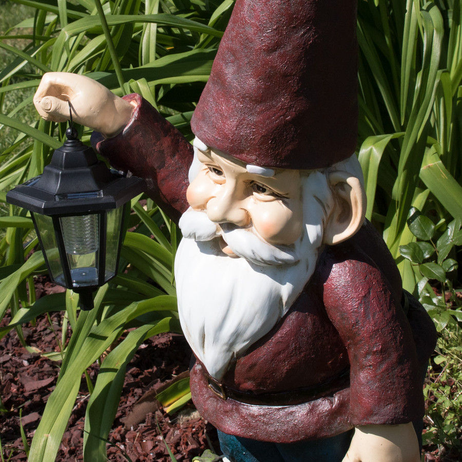 Sammy the Solar Lantern Gnome, 29 Inch Tall by Sunnydaze Decor