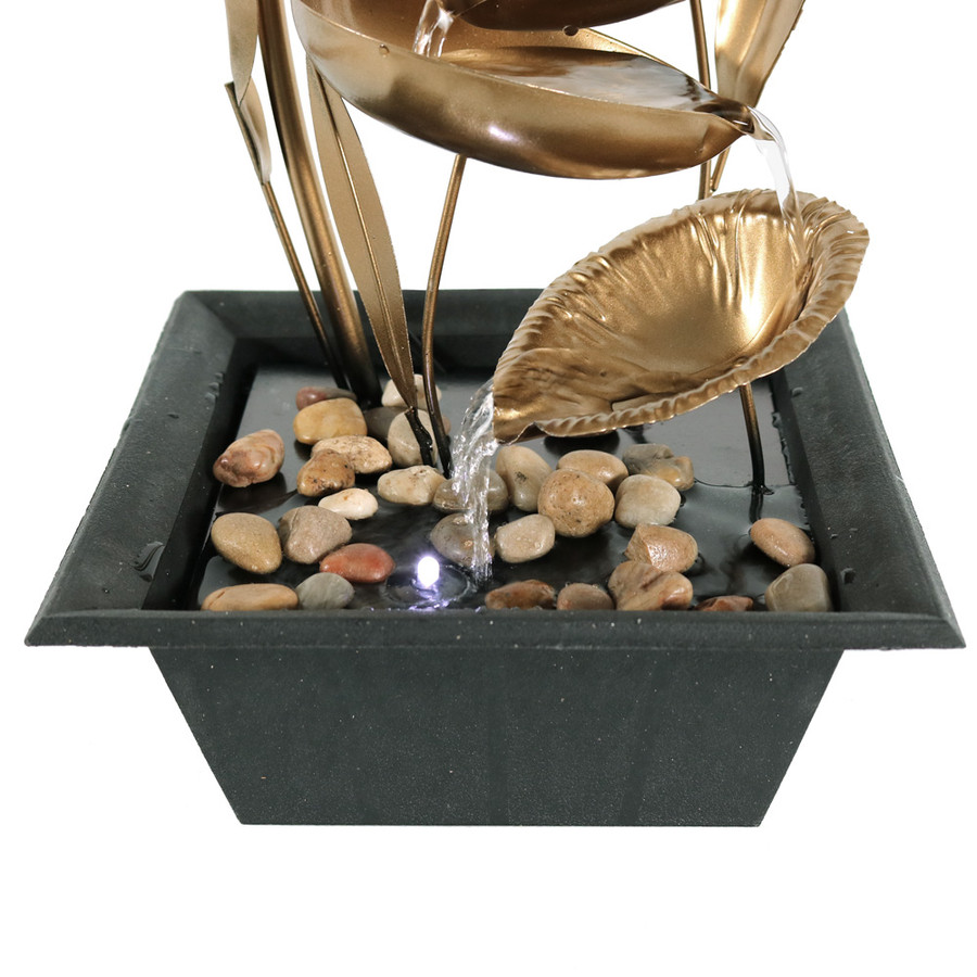 Sunnydaze Four Leaf Cascading Tabletop Fountain, 12 Inch Tall