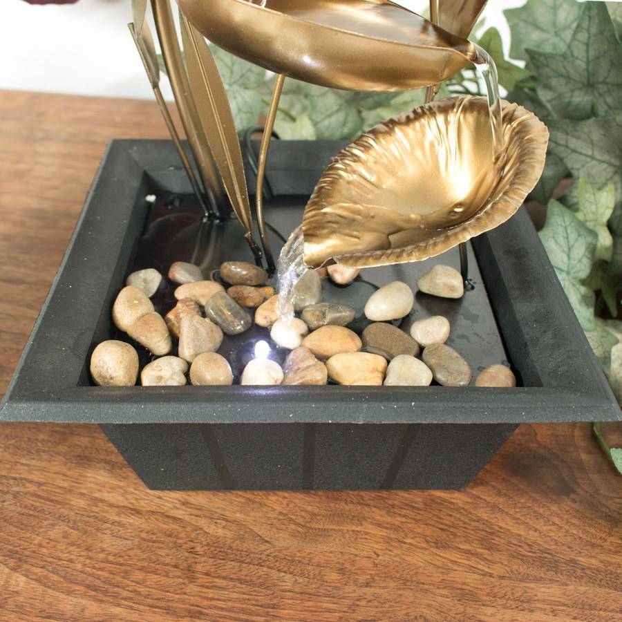 Sunnydaze Four Leaf Cascading Tabletop Fountain, 12 Inch Tall