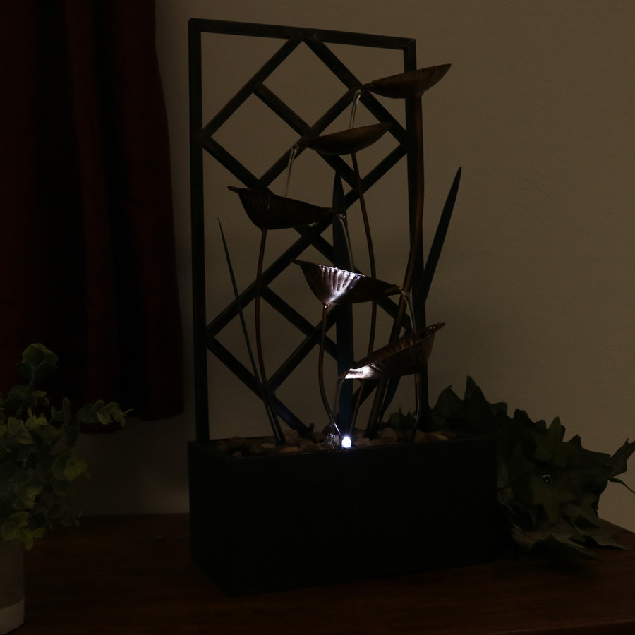 Sunnydaze Wandering Leaves Tabletop Fountain with LED Light, 20 Inch Tall