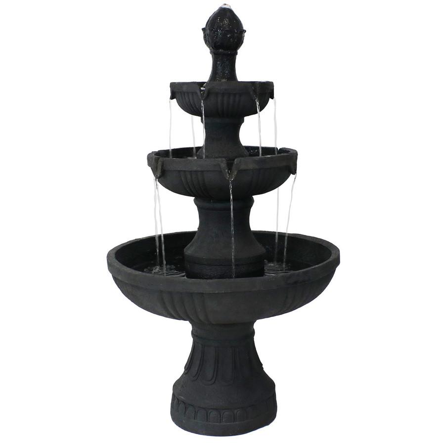 Sunnydaze Black Flower Blossom 3-Tier Water Fountain