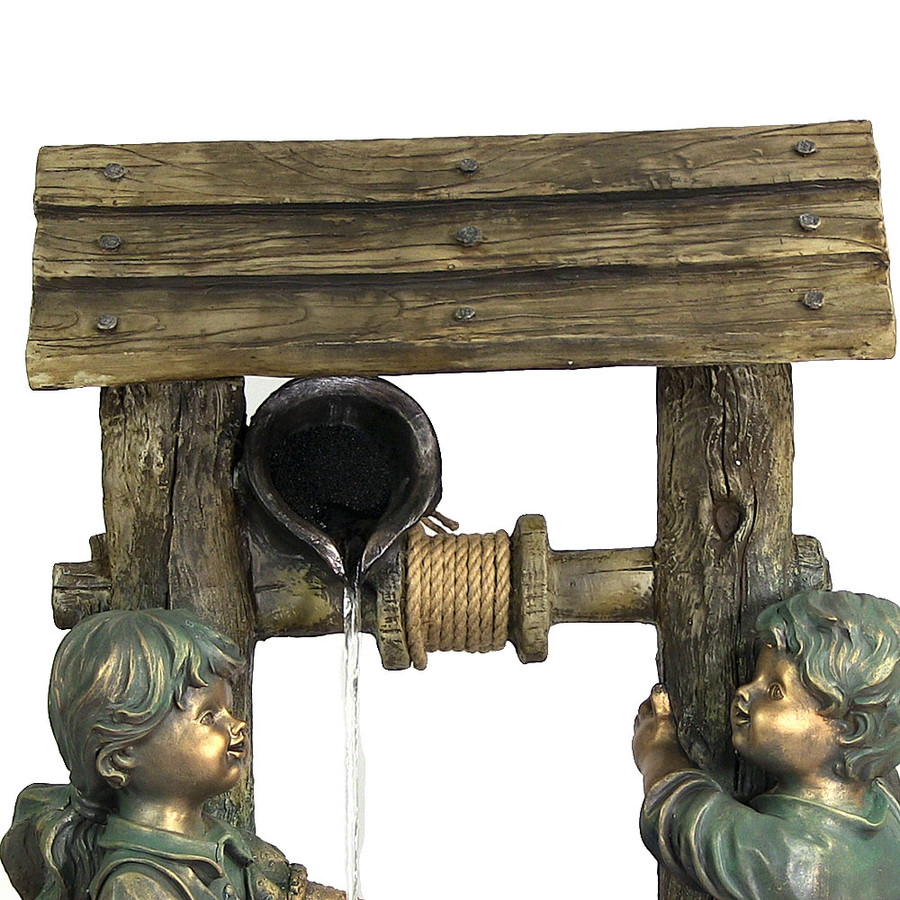 Children at the Well Outdoor Water Fountain with LED Light by Sunnydaze Decor, 39 Inch Tall