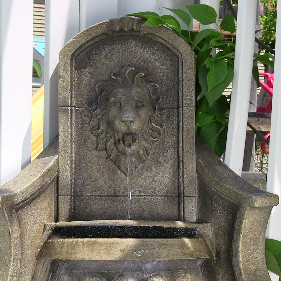 Sunnydaze Regal Lion Head Outdoor Corner Floor Fountain with LED Lights, 39.5 Inch Tall