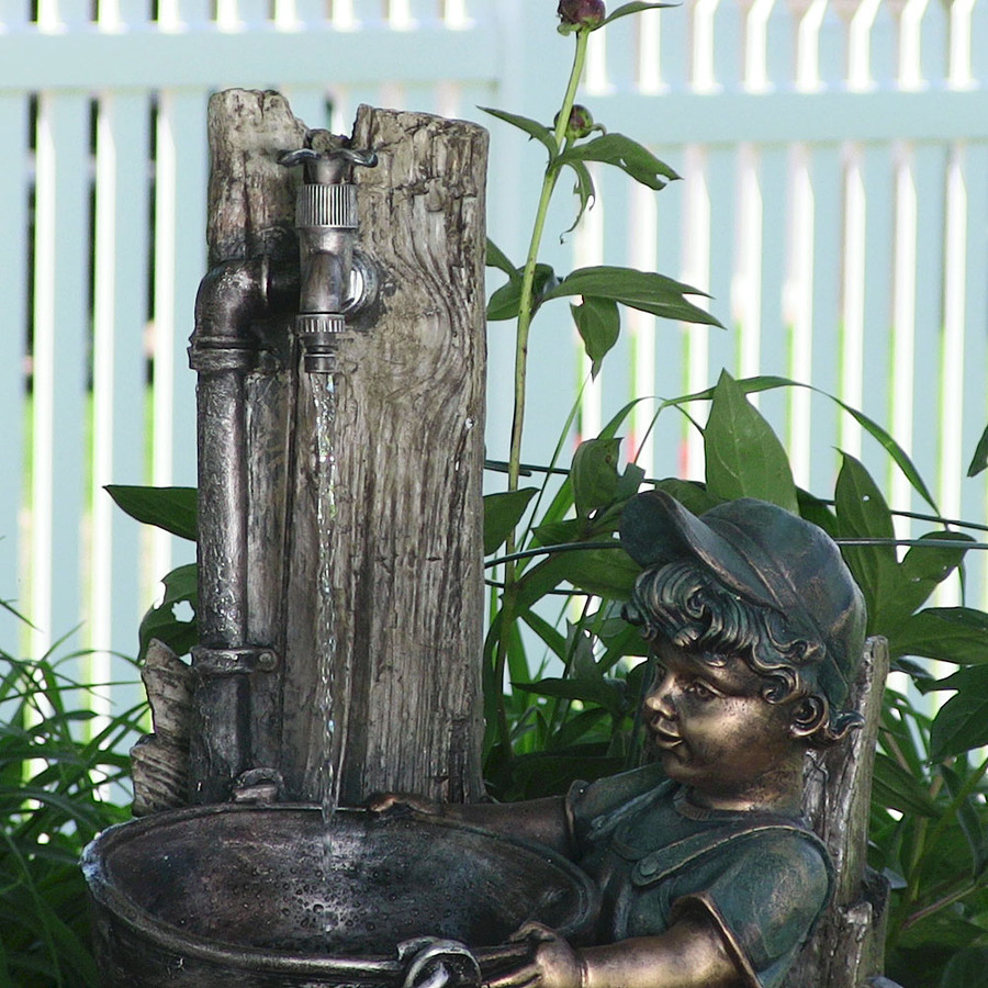 Sunnydaze Boy and Dog Fetching Water Outdoor Fountain with LED Lights, 30 Inch Tall