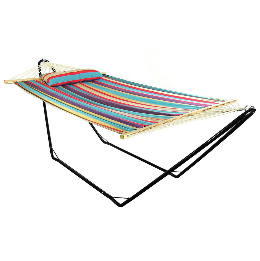 Sunnydaze Cotton Fabric Hammock and Detachable Pillow with 10 Foot Stand, Wildberry, 300 Pound Capacity