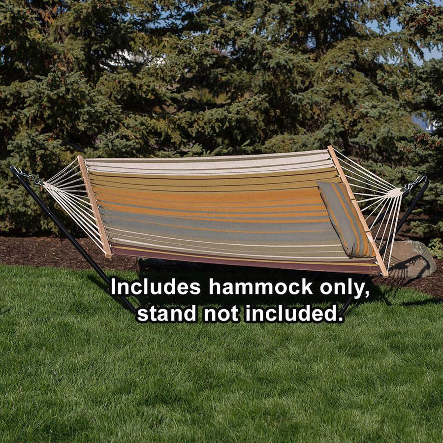 Sunnydaze Cotton Fabric Spreader Bar Hammock and Detachable Pillow, Sunset Beach, 300 Pound Capacity