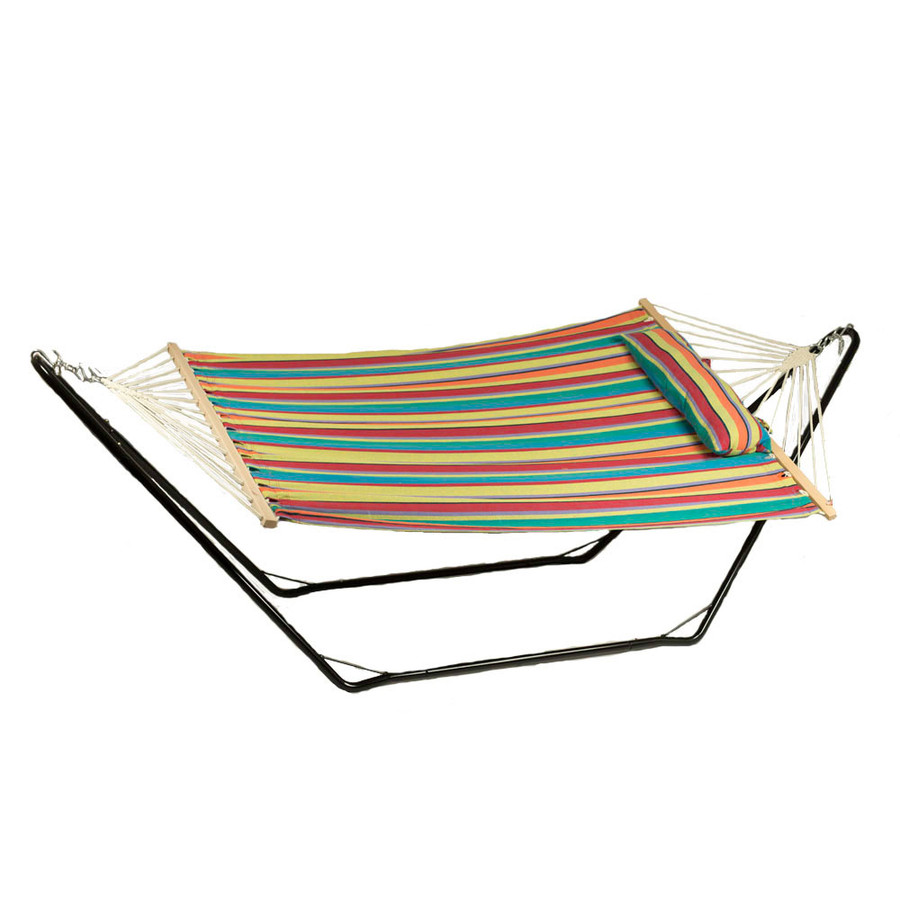 Sunnydaze Cotton Fabric Hammock and Detachable Pillow with 10 Foot Stand, Candy Stripe, 300 Pound Capacity