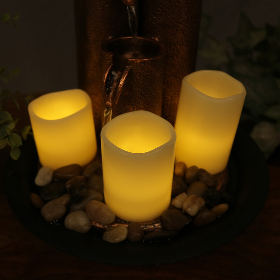 Sunnydaze Three Tiered Column Tabletop Fountain with LED Candle Lights, 11 Inch Tall