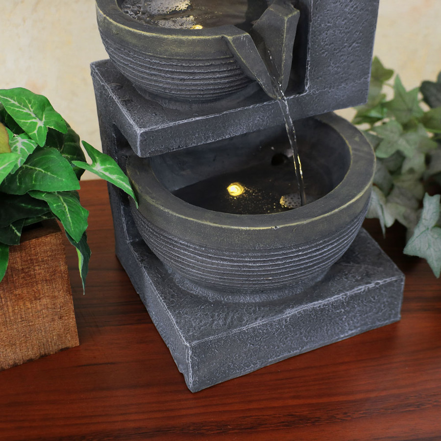 Sunnydaze Three Tier Cascading Basins Tabletop Water Fountain with LED Light