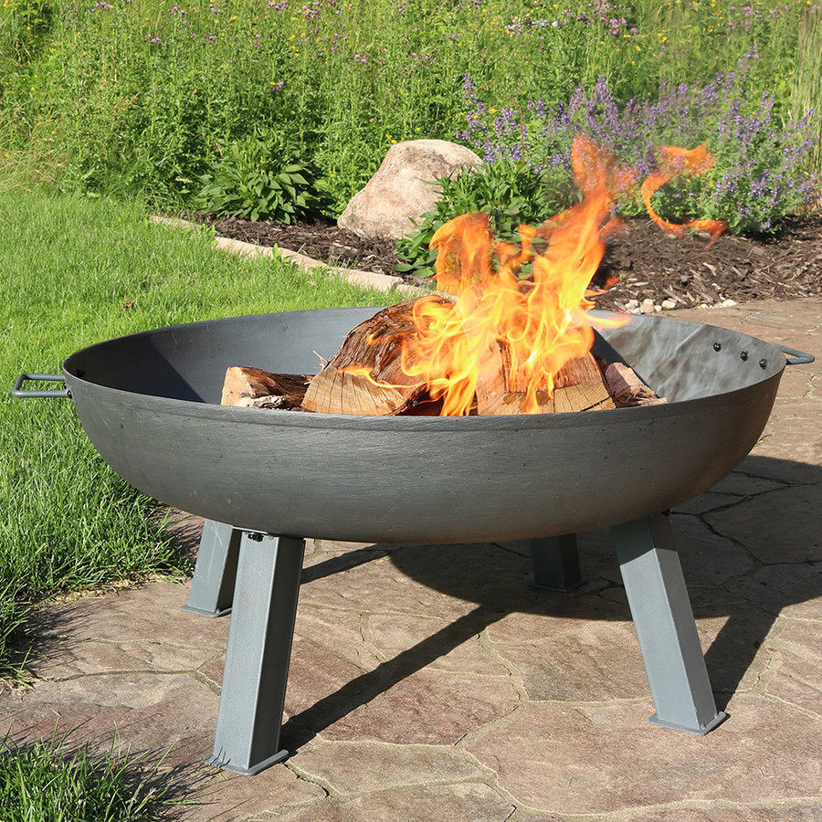 "34"" Cast Iron Steel Finish with Fire"