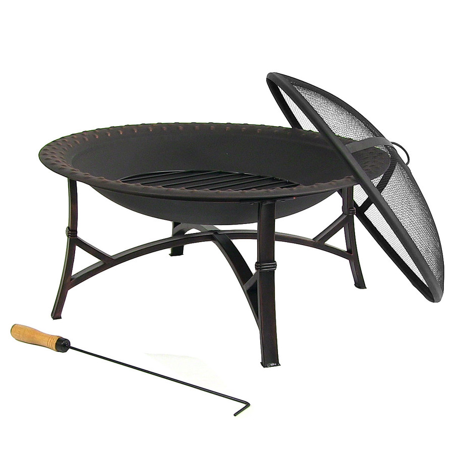 Sunnydaze 29 Inch Black Hammered Steel Fire Pit with Spark Screen