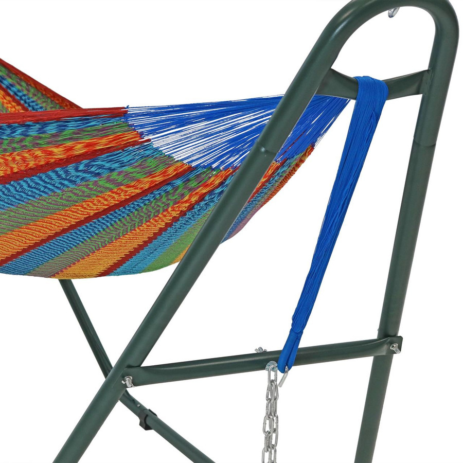 Closeup of green stand shown with a Mayan hammock. Hammock not included.