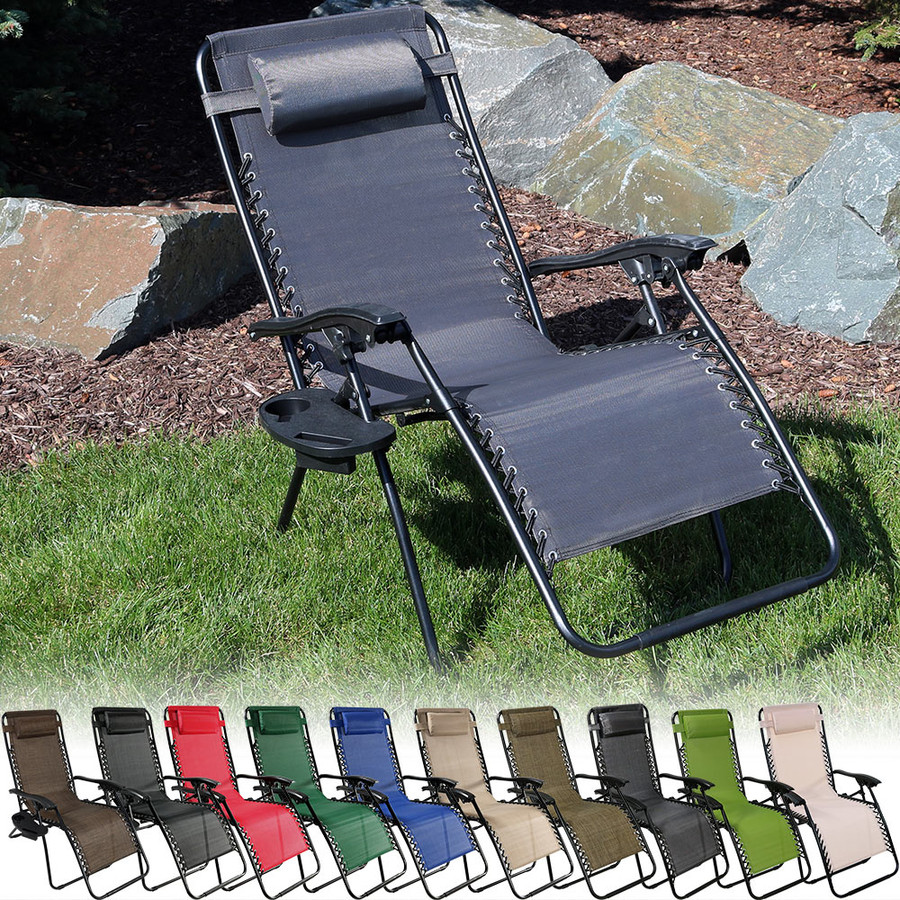 Sunnydaze Oversized Zero Gravity Chair with Pillow and Cup Holder
