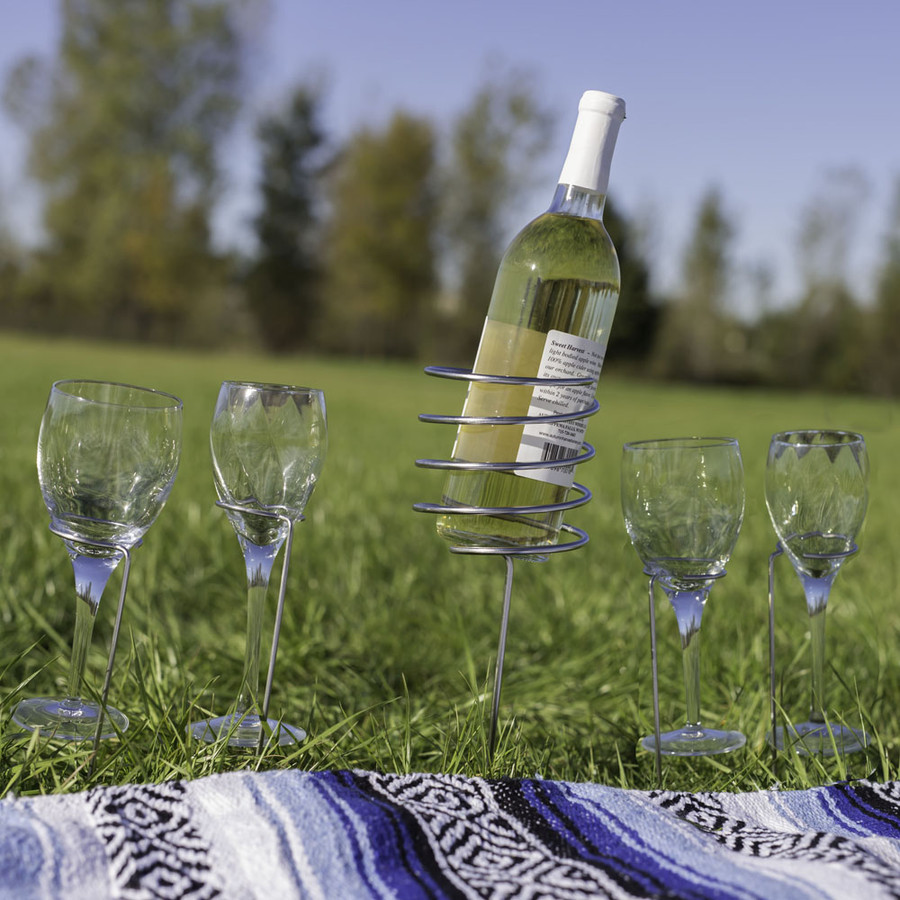 Outdoor Set of 1 Wine Bottle Holder and 4 Glass Holders