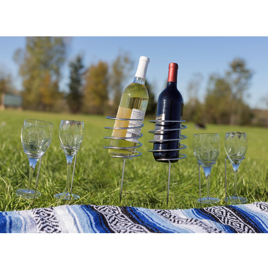 Outdoor Set of 2 Wine Bottle Holders and 4 Glass Holders