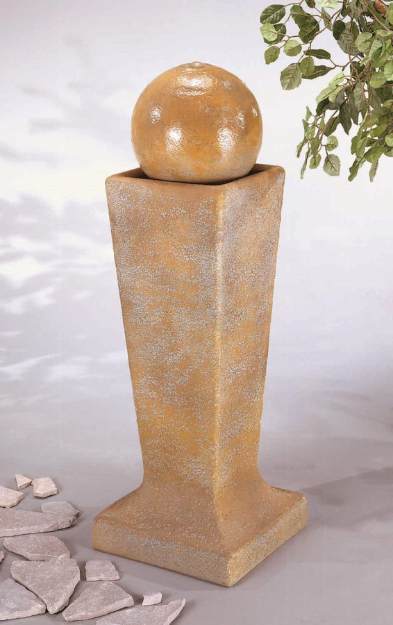 Henri Studio Cast Stone Sphere Bubbler Fountain on Tall Pedestal