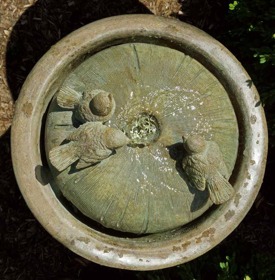 Henri Studio Cast Stone Tall Birds Patio Bubbler Fountain