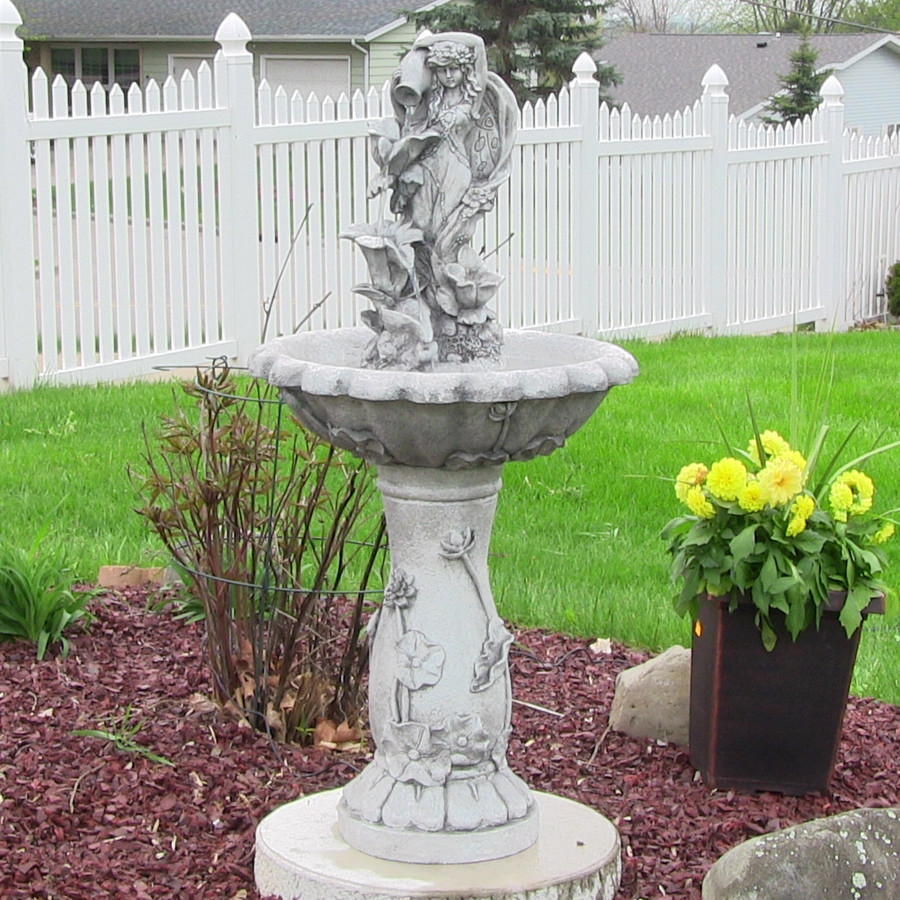 Sunnydaze Fairy Flower Solar-on-Demand Outdoor Water Fountain, 42.5 Inches Tall