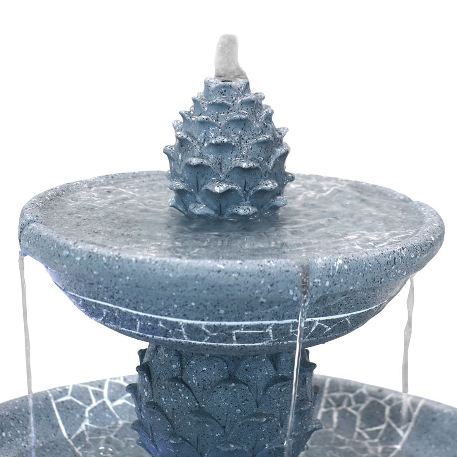 Top Detail of Dual Pineapple Tiered Fountain with LED Lights