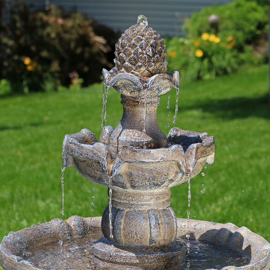 Sunnydaze Two Tier Pineapple Solar Water Fountain 33