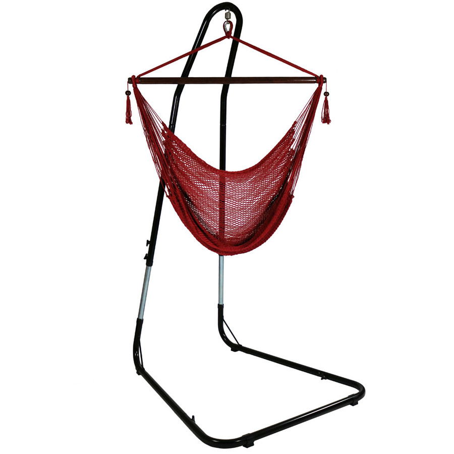 Red Hammock Chair on Stand