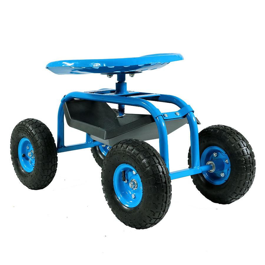 Sunnydaze Rolling Garden Cart with 360 Degree Swivel Seat & Tray