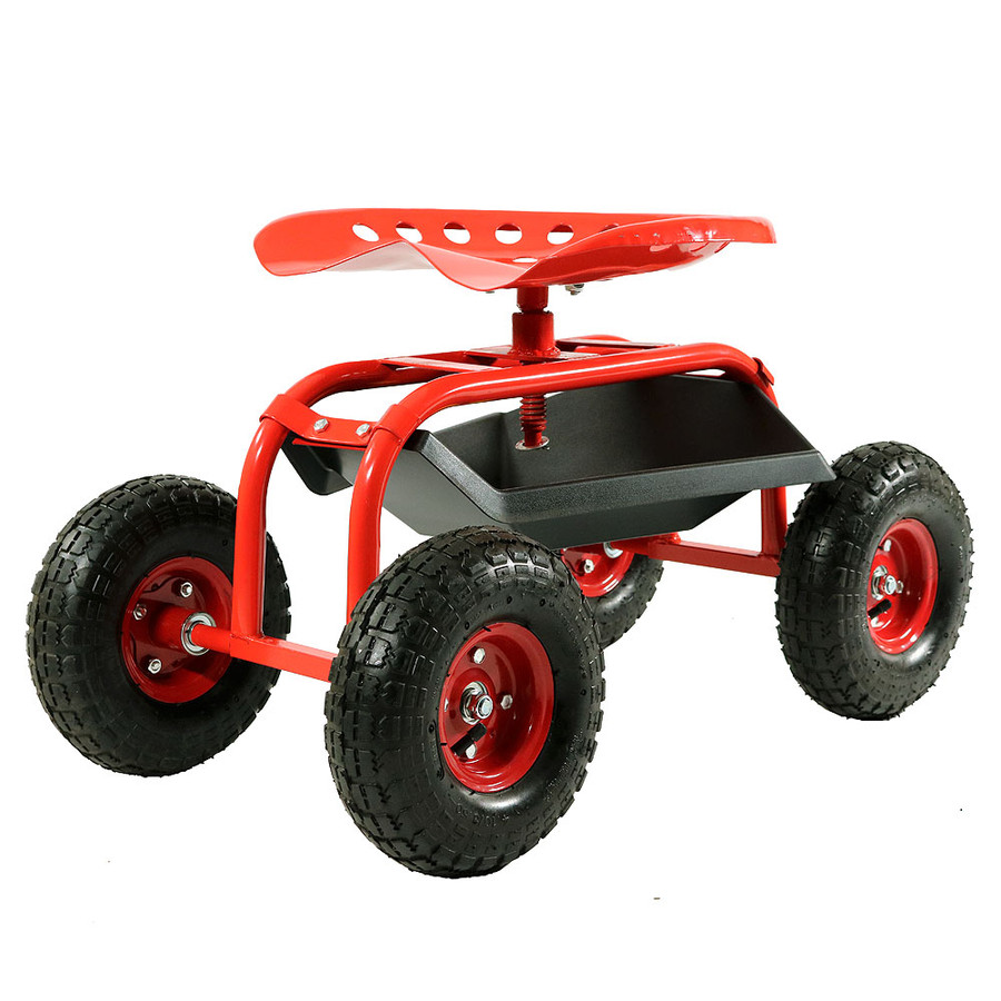 Red Rolling Garden Cart with 360 Degree Swivel Seat & Tray