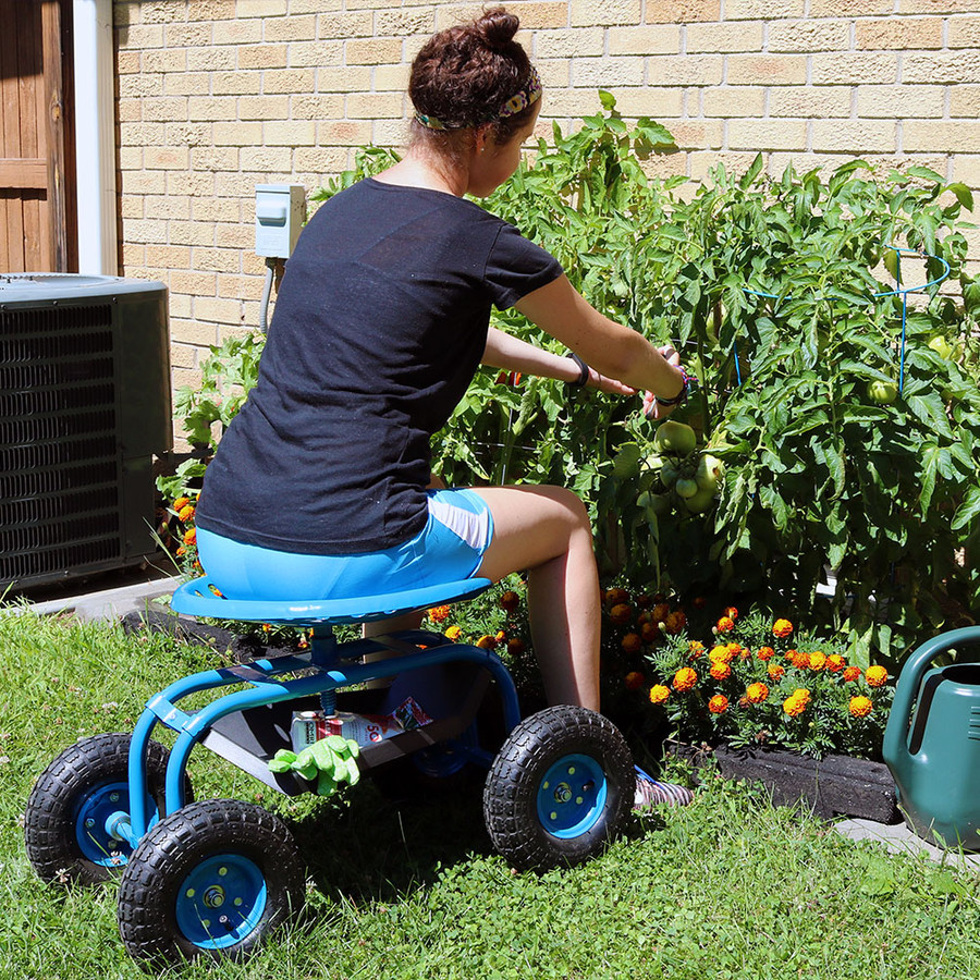 Blue Rolling Garden Cart with 360 Degree Swivel Seat & Tray