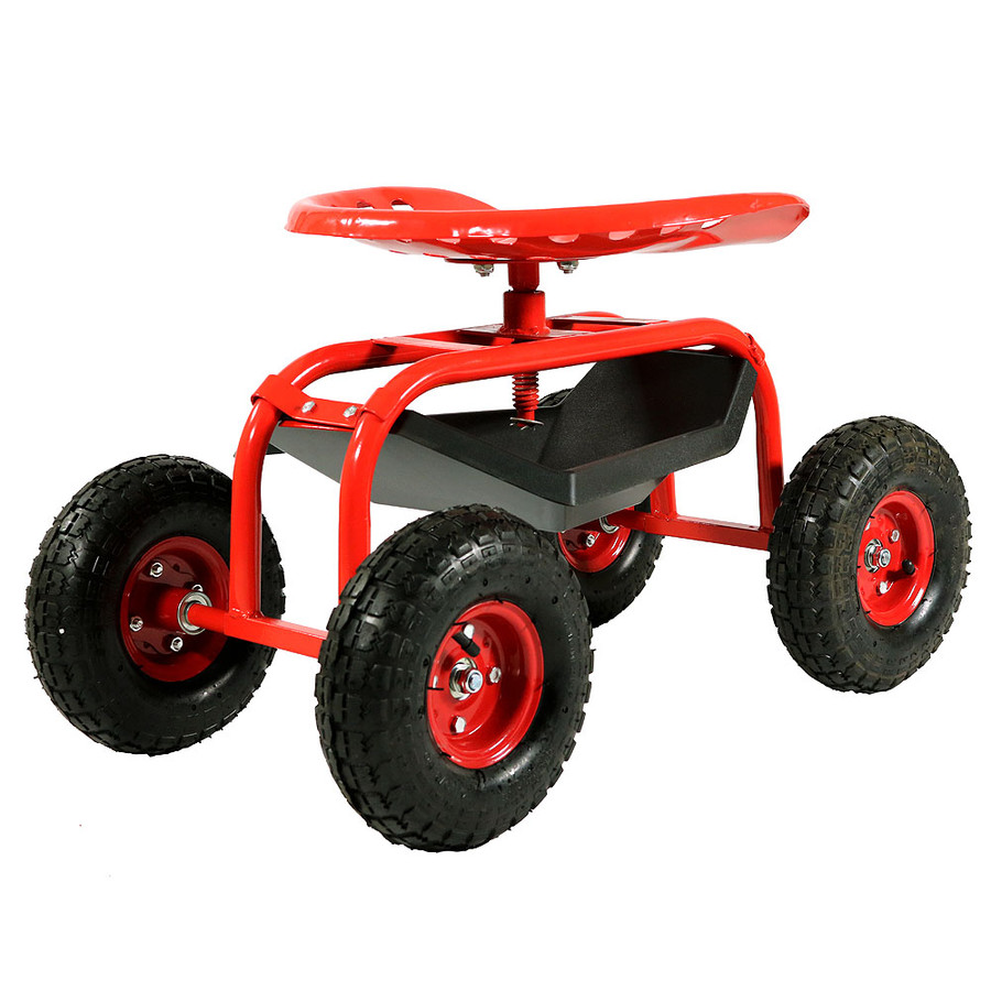 Sunnydaze Rolling Shop Cart with 360 Degree Swivel Seat & Tool Tray
