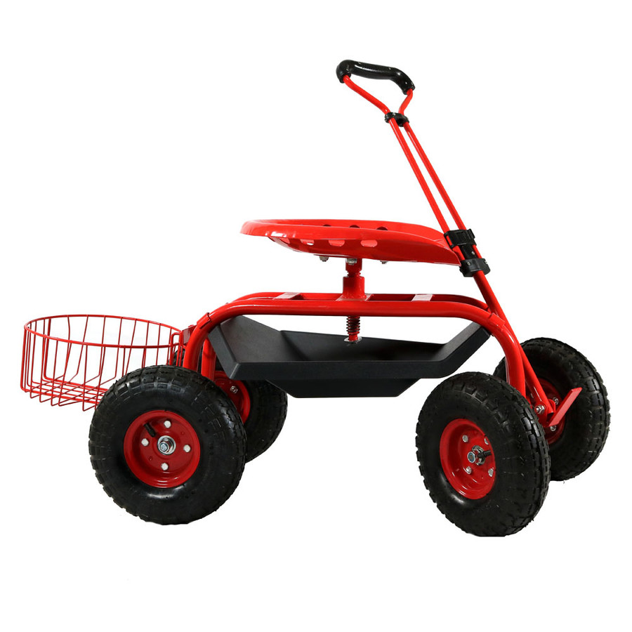 Sunnydaze Rolling Garden Cart with Extendable Steering Handle, Swivel Seat & Planter Basket
