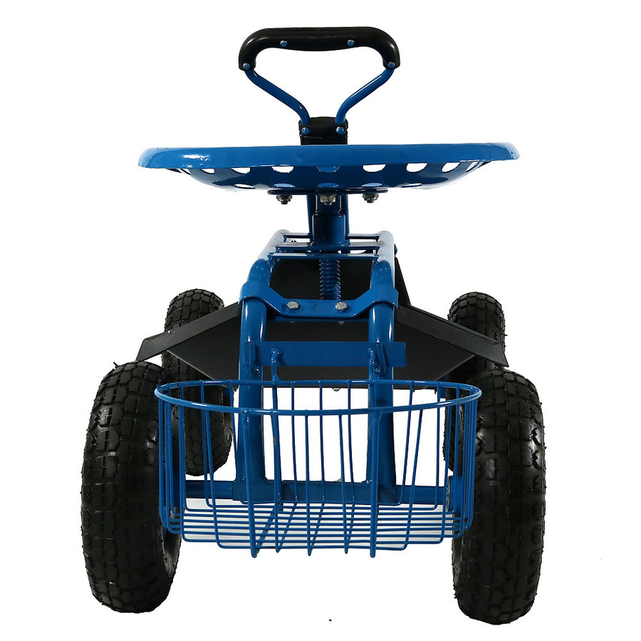 Sunnydaze Rolling Garden Cart with Extendable Steering Handle, Swivel Seat & Planter Basket